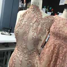 Draping in the studio! Love this nude lace embroidery. Christian Siriano, Pattern Draping, Dress Up Boxes, Lace Decor, Couture Details, Lace Embroidery, Wedding Favours, Couture Fashion, Evening Gowns