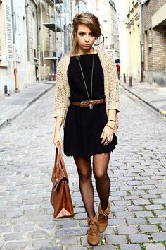 Cute fall outfit, knit cardigan, black skater dress and brown boots, belt and bag | Blueberry segmentS