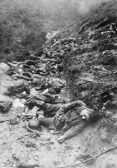 Battle of Caporetto: Dead Italian troops, killed in a gas attack by German troops, on the heights of Tolmein, November 1917.
