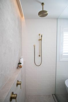 White Bathroom Tiles, Bathroom Renos, Laundry In Bathroom, Bathroom Renovations, Small Bathroom, Home Remodeling, Ikea Bathroom, Master Shower Tile, Remodled Bathrooms