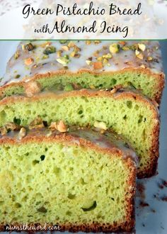 Green Pistachio Bread with Almond Icing - perfect for St.Patricks Day, this green pistachio bread is tasty and moist and topped with an almond icing that just makes it even better! #bread #cake #dessert #snack #green #stpatricksday #stpattysday #greenbraed #pistachio #pudding #pistachiobread #pistachioalmond #easy #recipe #numstheword