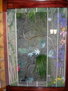 cabinet cage with mountain texture, plants and panty shelving front