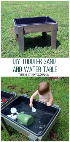 DIY Water/Sand Table for Toddlers and Preschoolers: Made from Recycled Materials outdoor table with cooler DIY Toddler Water Table from Recycled Wood: The Backyard Just Keeps Getting FUNNER - Kids Outdoor Play, Outdoor Play Areas, Kids Play Area, Outdoor Fun, Kids Play Table, Outdoor Couch, Toddler Water Table, Sand And Water Table, Sand Table