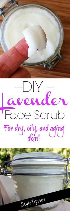 We're excited to share one of our favorite face scrubs with you - the DIY lavender face scrub which will leave your skin super soft, and hydrated! Diy Face Scrub, Diy Scrub, Lavender Oil Benefits, Homemade Scrub, Homemade Soaps, Sugar Scrub Recipe, Homemade Beauty Products, Beauty Recipe, Belleza Natural