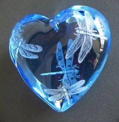 Cobalt Blue crystal Paperweight engraved with dragonflies
