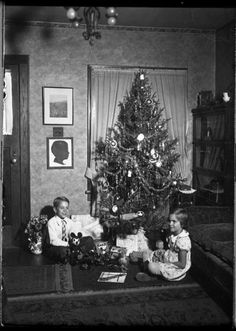 Children around a Christmas tree, 1940s  From kansasmemory.org