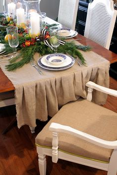Burlap table runner - ruffle is a nice touch