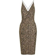 TopShop Animal Print Bodycon Dress (222.060 COP) ❤ liked on Polyvore featuring dresses, topshop, animal print bodycon dress, brown bodycon dress, topshop dresses and brown dress