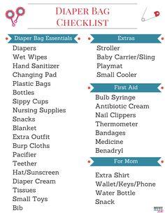 Free Printable diaper bag checklist and diaper bag essentials for baby!