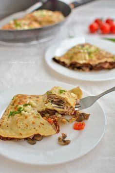 Clătite cu șuncă, ciuperci și caşcaval Sandwiches, Tacos, Food And Drink, Ale, Ethnic Recipes, Ales, Paninis