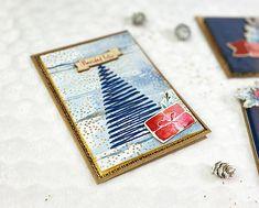 Tarjeta de Navidad scrapbook cosida y con acabado dorado. Tutorial paso a paso. Ideas Scrapbooking, Blog, Diy, Card Tutorials, Greeting Cards, Step By Step, Xmas, Bricolage, Blogging