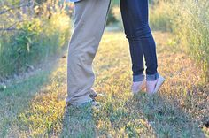 Tall & Tiny! Adorable engagement photo.  Tip toe kiss.  by Awakened Light Photography