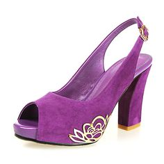 Fashion Suede Chunky Heel Peep Toe Pumps With Flower Party/Casual Shoes(More Colors) – USD $ 49.99