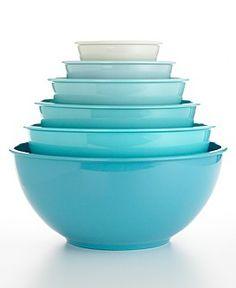 Macy*s - Martha Stewart Collection - Martha Stewart Collection Blue Melamine Bowl Set - Photo Mason Jar Kitchen, Aqua Kitchen, Turquoise Kitchen, Kitchen Colors, New Kitchen, Kitchen Decor, Kitchen Items, Kitchen Gadgets, Kitchen Stuff