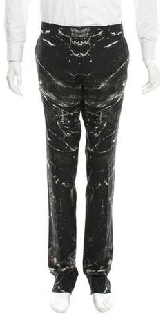 Alexander McQueen Printed Wool Pants Mens Dress Pants, Wool Pants, Straight Leg Pants, Welt Pocket, Parachute Pants, Alexander Mcqueen, Leather Pants, Printed, Stylish