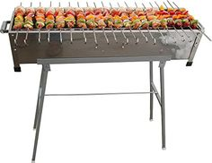 Stainless Steel Shish Kebab Grill w/Stand & 20 Stainless Skewers >>> You can get more details by clicking on the image. Kebab Skewers, Shish Kebab, Kabobs, Barbacoa, Backyard Bbq, Patio, Grill Stand, Large Bbq, Brick Bbq