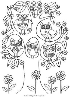 Owl tree line drawing Owl Coloring Pages, Doodle Coloring, Printable Coloring, Coloring Pages For Kids, Coloring Sheets, Coloring Books, Owl Art, Doodle Art, Embroidery Patterns