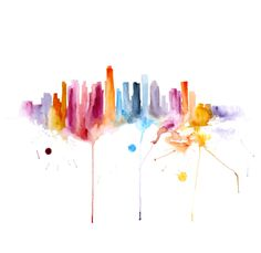 Los Angeles Painting Watercolor abstract 13x19. $105.00, via Etsy.