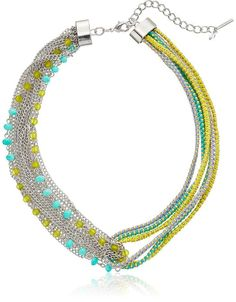 """Steve Madden """"Color Blossom"""" Mixed Chain Multi Cord Necklace, 16"""" + 2"""" Extender"""