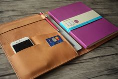 iPad Air Case Leather Portfolio Covers Hand Sewn by eLeatherDesign Ipad Mini Cases, Ipad Air Case, Macbook Pro Accessories, Handmade Diary, Macbook Bag, Leather Bound Journal, Moleskine Notebook, Leather Portfolio, Ipad Sleeve