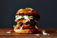 Texas Tailgate Burger, a recipe on Food52. This has a layer of BBQ potato chips on the bun!  Yum.
