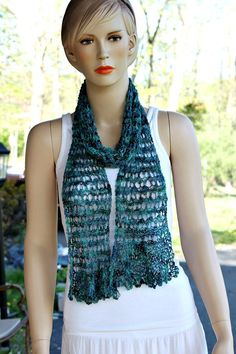 Hand Made Scarf Knitted Scarf Ocean Blue Blue scarf Lace