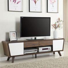 Coaster Company TV Console, Chestnut and Glossy White