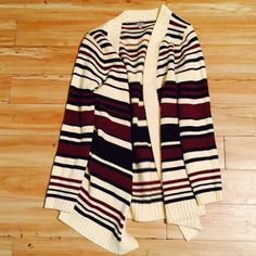 Cream striped sweater Comfy sweater for this cold winter season. Maroon and black stripes. Cream sweater. Great layering piece. Only worn once. Sweaters
