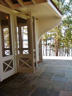 View from Covered porch. Custom bracket detail!