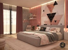 Pink Bedroom girly bedroom design to be more comfortable and cozy ,modern design palette is pink and grey with gradient of both material using gold material more appropriate to pink color and white plastic and wood the concept using more triangle lines … Pink Bedroom Decor, Room Ideas Bedroom, Girl Bedroom Designs, Teen Bedroom Colors, Bedroom Vintage, Bedroom Wallpaper Designs, Bed Room, Ideas For Bedrooms, Pink Dorm Rooms
