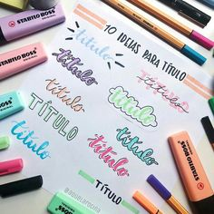 25 Awesome Bullet Journal Ideas to Boost your Motivation Bullet Journal Headers, Journal Fonts, Bullet Journal Notes, Stabilo Boss, Doodle Lettering, Pretty Notes, Lettering Tutorial, School Notes, Study Notes