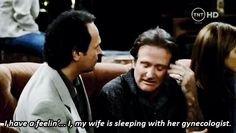 Robin Williams' character is going through a hard time because he thinks his wife is cheating on him.