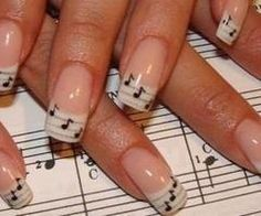 I am unfolding inspiring sheet music nail art designs, ideas & trends of I hope you would love the collection. Make various music notation signs on your nails, add glitters and dark base coat so the signs appear more aptly and look beautiful. French Nails, French Manicure Nails, Manicure Y Pedicure, Diy Nails, French Manicure With A Twist, Manicure Ideas, Music Note Nails, Music Nail Art, Music Nails
