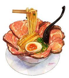 A Food, Food And Drink, Cute Food Art, Food Sketch, Cute Food Drawings, Food Cartoon, Watercolor Food, Food Painting, Food Concept