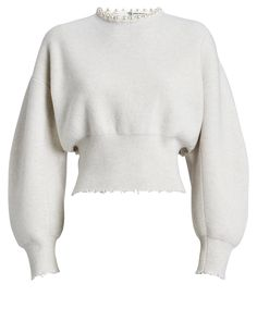 Alexander Wang Faux Pearl-embellished Cutout Distressed Wool-blend Sweater In White Classy Outfits, Pretty Outfits, Stylish Outfits, Cool Outfits, Cozy Sweaters, Cashmere Sweaters, Look Fashion, Fashion Outfits, Fashion Design