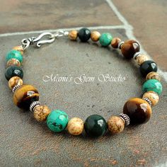 Beaded Bracelet for Men Tiger Eye Tibetan by mamisgemstudio, $24.95
