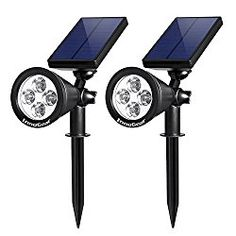 InnoGear Upgraded Solar Lights 2-in-1 Waterproof Outdoor Landscape Lighting Spotlight Wall Light Auto On/Off for Yard Garden Driveway Pathway Pool,Pack of 2 (White Light)