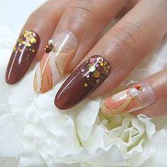 =Pomme color Gel=  秋のネイルデザイン  上品な色使いのプッチ柄はゴールドラメでエレガントに♪