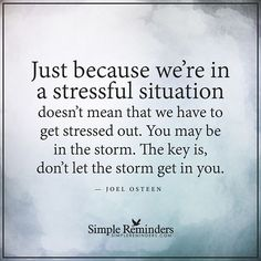 """Just because we're in a stressful situation doesn't mean that we have to get stressed out. You may be in the storm. The key is, don't let the storm get in you."" — Joel Osteen #SimpleReminders #BeRoyal @BryantMcGill @JenniYoung_ #quote #stress #storm #peace #faith #purpose"