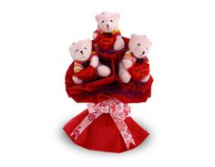 A beautiful bouquet with 3 little red teddys holding a heart wrapped in an exclusive red paper frill wrapping!        A charming teddy bear bouquet to make someone happier by every little bit. Here comes a beautiful bouquet with 3 little red teddys holding a heart wrapped in an exclusive red paper frill wrapping! A perfect gift for all and any occasion!