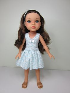 Hearts 4 Hearts doll clothes White with aqua flowered lisianthus dress  by JazzyDollDuds