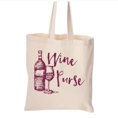 """SALE! """"Wine Purse"""" tote bag Folds flat. Fabric handles. 100% cotton canvas. Size:  14-1/2 x 15-1/2. Made in Indonesia. Designed and printed in Utah.  Price firm unless bundled.  Photo courtesy of Salt Lake Clothing. Salt Lake Clothing Bags Totes"""