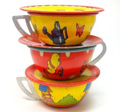 Tin Toy Tea Cups & Saucers Set of 6 with duck by OldeTymeNotions, $34.00