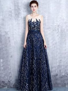 Chic A-line Scoop Tulle Dark Navy Rhinestone Modest Prom Dress Evening Dress AM420
