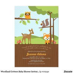 "Woodland Critters Baby Shower Invitation 5"" X 7"" Invitation Card"