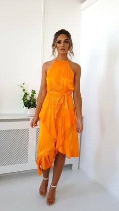 Willow Wrap Frill Midi Dress at ikrush Orange Dress Outfits, Orange Dress Summer, Casual Cocktail Dress, Casual Summer Dresses, Occasion Dresses, Day Dresses, Pretty Dresses, Beautiful Dresses, Frack