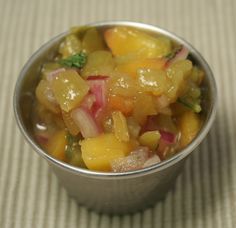 """When you hear the word """"salsa,"""" more than likely you think of a dip with tomatoes, peppers, and onions. However, this delicious salsa recipe is made with fruit instead of vegetables. Its light, ref..."""