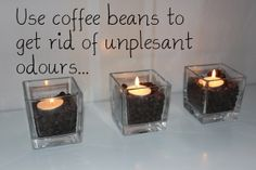 DIY candle holders with coffee beans. Ohhh man, I have to do this!