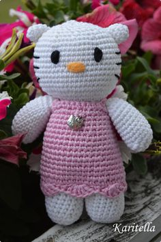 Crocheted Kitty with pink dress by Karitella on Etsy