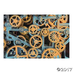 Realistic Gears Backdrop Banner, 6X9' , $17